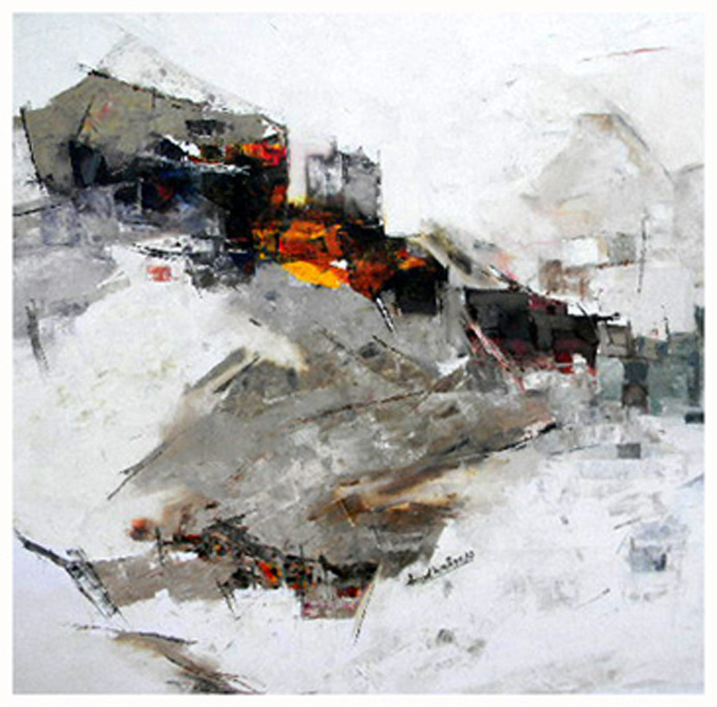 'Untouched Nature' 05 -2012 by Anand Narain, Expressionism Painting, Oil on Canvas, Gray color