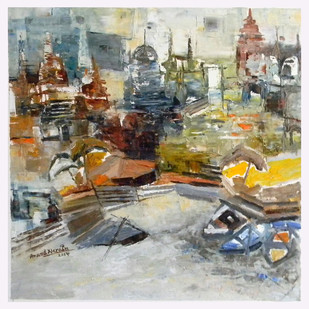 Banaras 4-2014 by Anand Narain, Abstract Painting, Oil on Canvas, Gray color