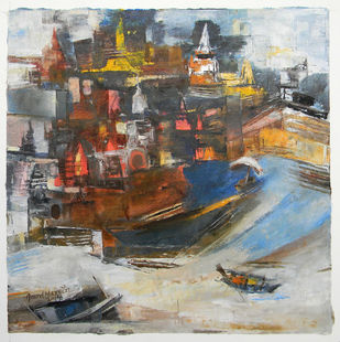 Banaras 5- 2014 by Anand Narain, Abstract Painting, Oil on Canvas, Brown color