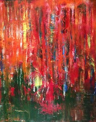 first bliss by shelja, Abstract Painting, Acrylic on Canvas, Red color