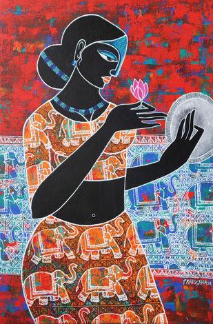 Celestial beauty.. Sursundari 1 by Pratiksha Bothe, Expressionism Painting, Acrylic on Canvas, Brown color