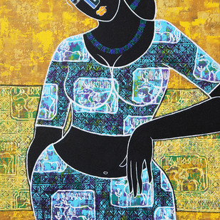 Celestial beauty.. in memory of Harappa by Pratiksha Bothe, Expressionism Painting, Acrylic on Canvas, Green color