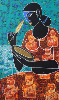 Celestial beauty.. in memory of Harappa 2 by Pratiksha Bothe, Expressionism Painting, Acrylic on Canvas, Brown color