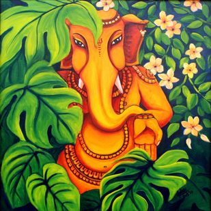 Amidst Nature by Asha Shetty, Decorative Painting, Acrylic on Canvas, Green color