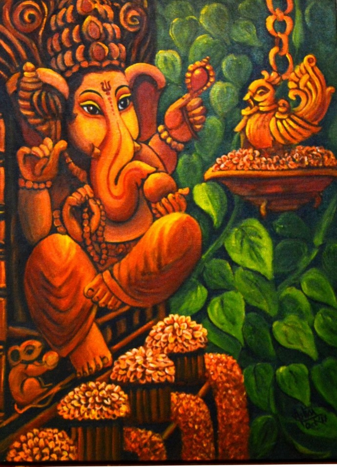 Adoration by Asha Shetty, Decorative Painting, Acrylic on Canvas, Brown color