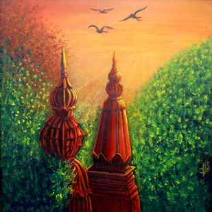 Divine Awakening by Asha Shetty, Expressionism Painting, Acrylic on Canvas, Green color