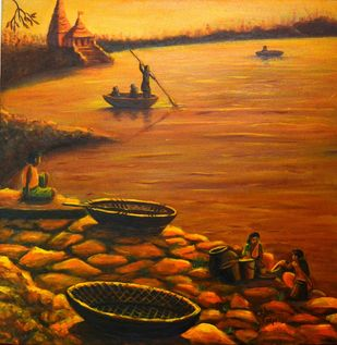 Temple at the river bank by Asha Shetty, Expressionism Painting, Acrylic on Canvas, Brown color