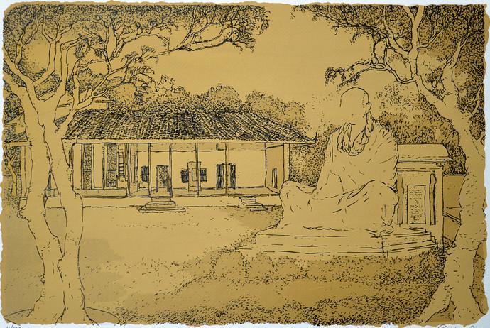 Gandhi Ashram by Vrindavan Solanki, Illustration Printmaking, Serigraph on Paper, Beige color