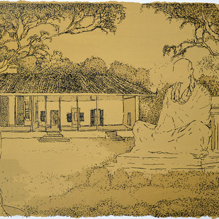 Gandhi Ashram by Vrindavan Solanki, Illustration Printmaking, Serigraph on Paper, Beige color