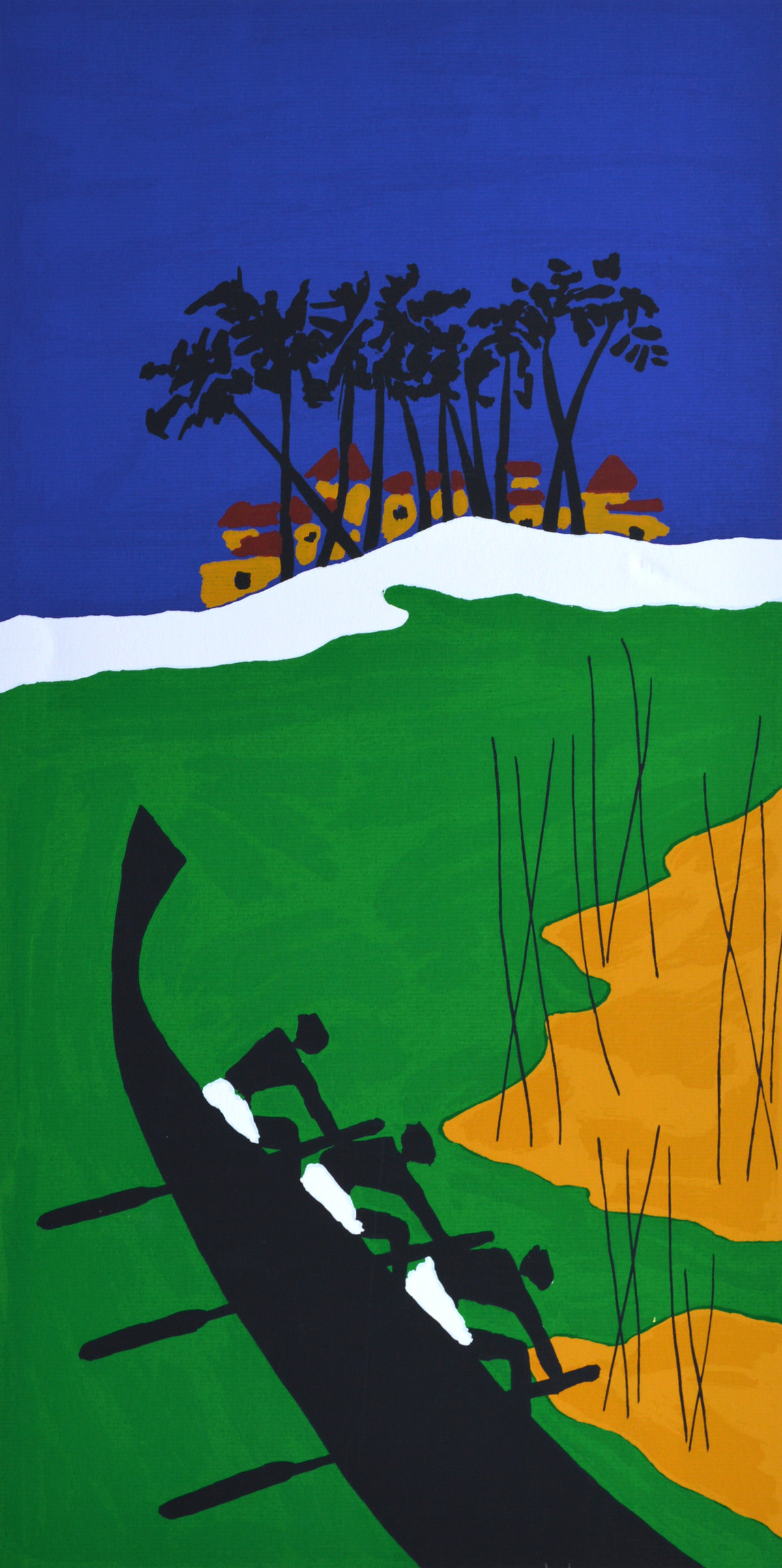 Folklore Kerala - VIII by M F Husain, Expressionism Printmaking, Serigraph on Paper, Green color