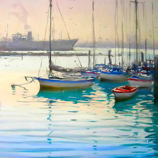 Calm Water by The Print Studio, Impressionism Painting, Digital Print on Canvas, Beige color