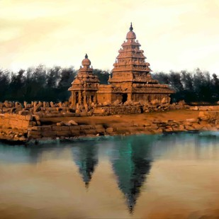 Shore Temple Digital Print by The Print Studio,Impressionism