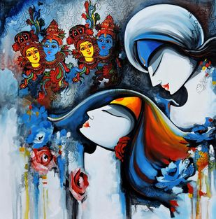 loving couple2 by pradeesh k raman, Expressionism Painting, Acrylic on Canvas, Blue color