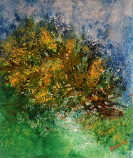 untitled by Palash chandra naskar, Abstract Painting, Acrylic on Board, Green color