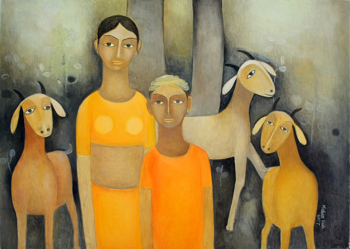 Untitled by Mohan Naik, Impressionism Painting, Oil on Canvas, Brown color