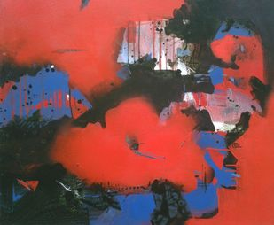 Untitle by Yashpal, Abstract Painting, Acrylic on Canvas, Red color