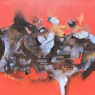 Towards my ambitation by Yashpal, Abstract Painting, Acrylic on Canvas, Brown color
