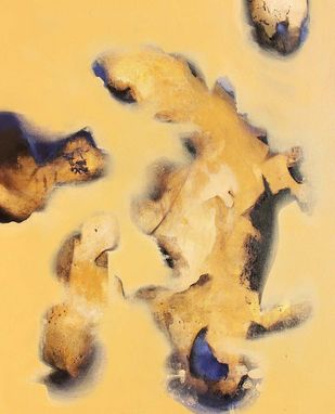 Flying freedom by Yashpal, Abstract Painting, Acrylic on Canvas, Beige color