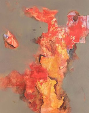 meeting my love by Yashpal, Abstract Painting, Acrylic on Canvas, Brown color