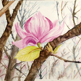 On my own ( Pink Magnolia ) by Manju Srivatsa , Impressionism Painting, Watercolor on Paper, Beige color