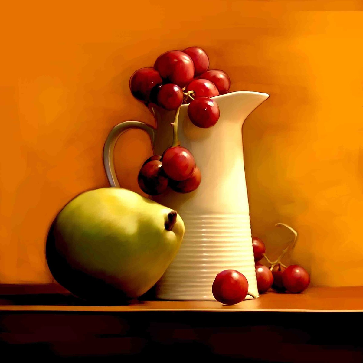 Still Life with pear Digital Print by The Print Studio,Digital
