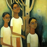 Untitled by Mohan Naik, Expressionism Painting, Oil on Canvas, Beige color
