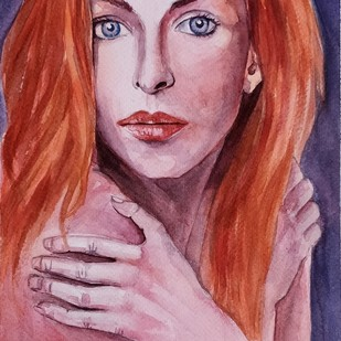 Red headed by Samudra Kallol Sarma, Impressionism Painting, Watercolor on Paper, Pink color
