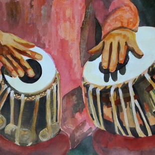 The Tabla by Anup Menon, Impressionism Painting, Acrylic on Paper, Brown color