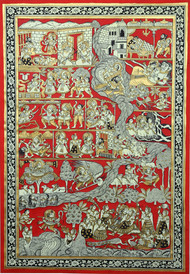 Krishna Birth Story by Unknown Artist, Folk Painting, Natural stone colour on cotton, Brown color