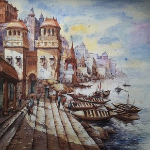 Temple of Benaras-1 by Shubhashis Mandal, Impressionism Painting, Watercolor on Paper, Brown color
