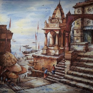 Top view of benaras ghat by Shubhashis Mandal, Impressionism Painting, Watercolor on Paper, Brown color