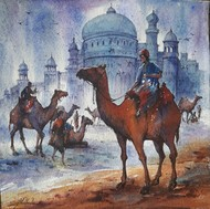 Rajasthan -1 by Shubhashis Mandal, Impressionism Painting, Watercolor on Paper, Brown color