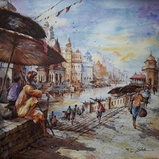 Monk in Benaras by Shubhashis Mandal, Impressionism Painting, Watercolor on Paper, Brown color