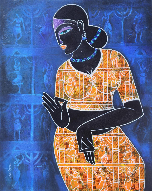 Celestial beauty.. Sursundari by Pratiksha Bothe, Expressionism Painting, Acrylic on Canvas, Blue color
