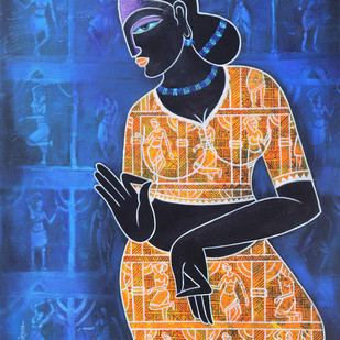 Celestial beauty.. Sursundari by Pratiksha Bothe, Expressionism Painting, Acrylic on Canvas, Blue color