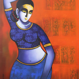 Celestial beauty.. Sursundari by Pratiksha Bothe, Expressionism Painting, Acrylic on Canvas, Orange color