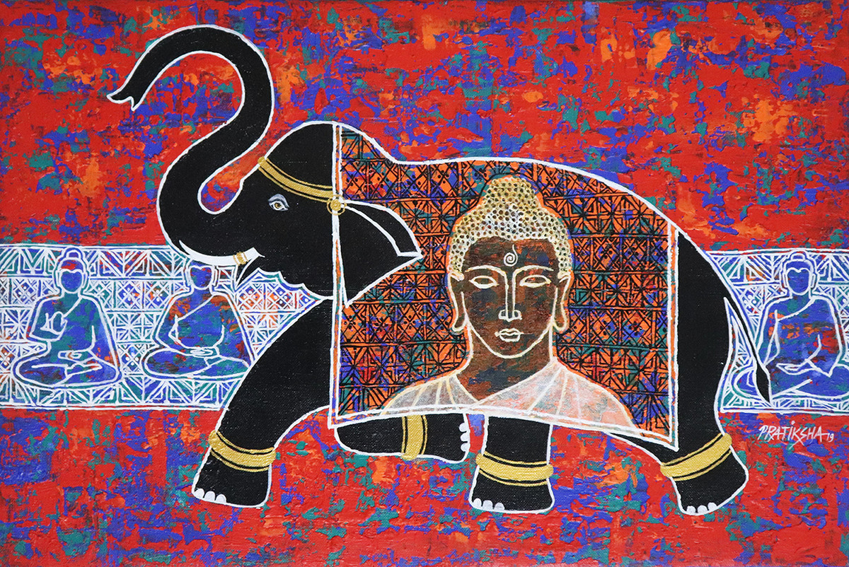 The Elephant by Pratiksha Bothe, Expressionism Painting, Acrylic on Canvas, Brown color