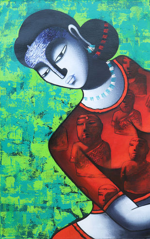 Celestial beauty in memory of Harappa by Pratiksha Bothe, Expressionism Painting, Acrylic on Canvas, Green color