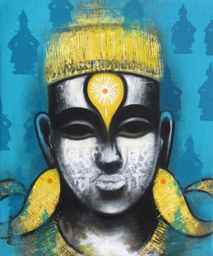 Ecstacy by Pratiksha Bothe, Expressionism Painting, Acrylic on Canvas, Gray color