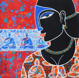 Yasodhara waiting for Buddha by Pratiksha Bothe, Expressionism Painting, Acrylic on Canvas, Gray color
