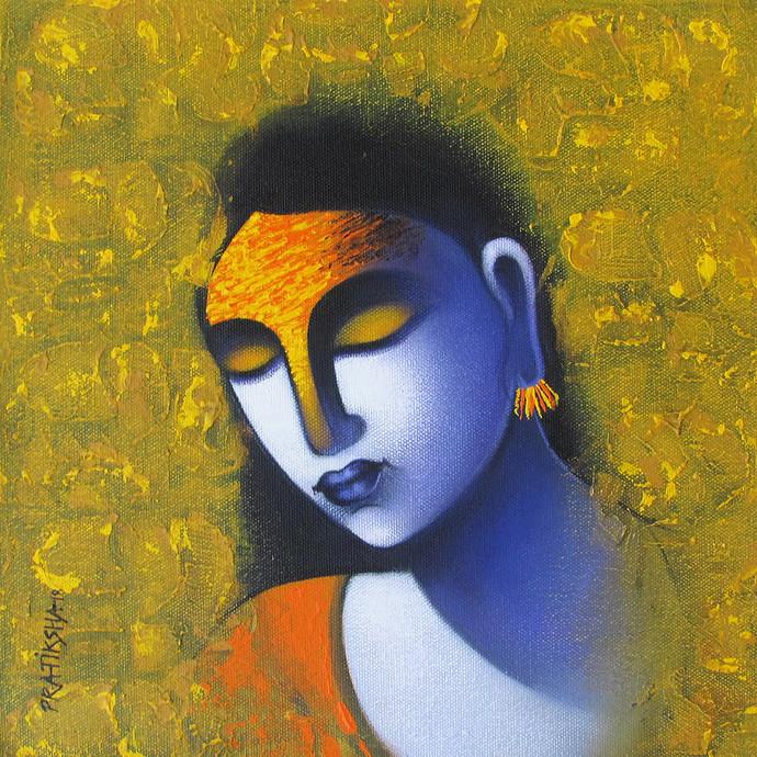 Celestial beauty Sursundari 6 by Pratiksha Bothe, Expressionism Painting, Acrylic on Canvas, Green color