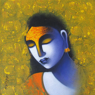 Celestial beauty Sursundari 6 by Pratiksha Bothe, Expressionism Painting, Acrylic on Canvas, Green color