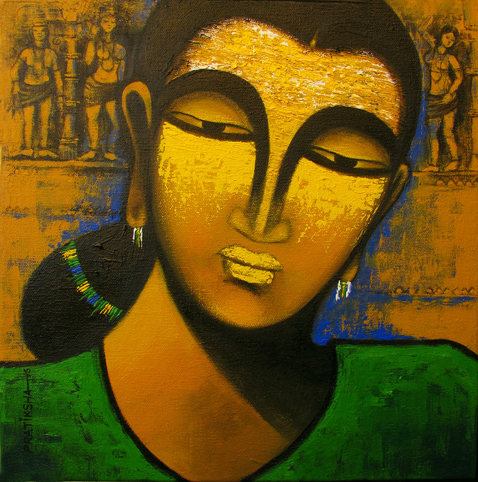 Celestial beauty Sursundari by Pratiksha Bothe, Expressionism Painting, Acrylic on Canvas, Brown color