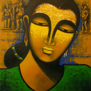 Celestial beauty Sursundari by Pratiksha Bothe, Expressionism Painting, Acrylic on Canvas, Brown color