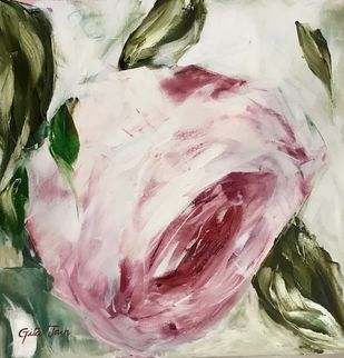 Abstract Rose 1 by Gita Jain, Impressionism Painting, Oil on Canvas, Pink color