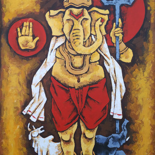 ganesha 3 by Balbir Singh, Expressionism Painting, Acrylic on Canvas, Brown color