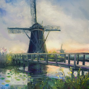 Windmill- 02 by The Print Studio, Impressionism Painting, Digital Print on Canvas, Green color