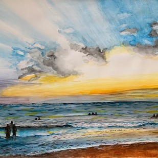 Sunset at Morjim Beach Goa by Kajal Nalwa, Impressionism Painting, Watercolor on Paper, Beige color