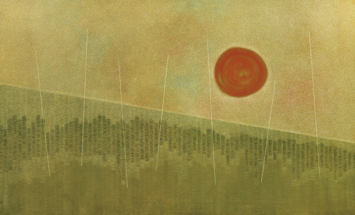 tranquility by Hanumantha Rao Devulapalli, Expressionism Painting, Oil on Canvas, Beige color