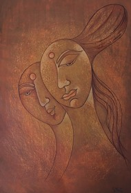 FRIENDS by Nidhi Jaiswal, Expressionism Painting, Watercolor Wash on Paper, Brown color